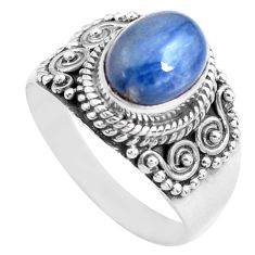 3.42cts natural blue kyanite 925 sterling silver solitaire ring size 7.5 p71702
