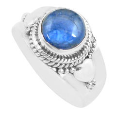 3.62cts natural blue kyanite 925 sterling silver solitaire ring size 8.5 p71707