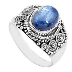 3.42cts natural blue kyanite 925 sterling silver solitaire ring size 7.5 p71718