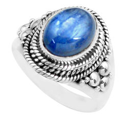 4.22cts natural blue kyanite 925 sterling silver solitaire ring size 7 p71725