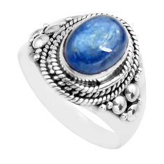 3.22cts natural blue kyanite 925 sterling silver solitaire ring size 7 p71726