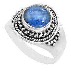 3.19cts natural blue kyanite 925 sterling silver solitaire ring size 7.5 p71729