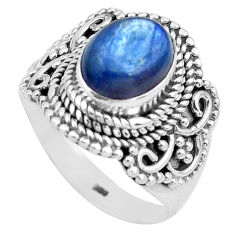 4.11cts natural blue kyanite 925 sterling silver solitaire ring size 8 p81182