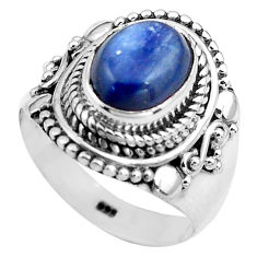 4.21cts natural blue kyanite 925 sterling silver solitaire ring size 7.5 p81189