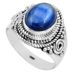 4.02cts natural blue kyanite 925 sterling silver solitaire ring size 6.5 p81191