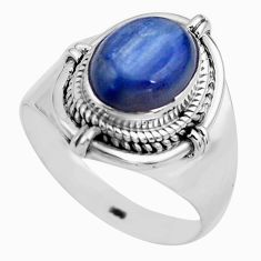 4.02cts natural blue kyanite 925 sterling silver solitaire ring size 8.5 p81192