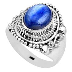 4.70cts natural blue kyanite 925 sterling silver solitaire ring size 8 p81195