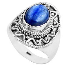 4.55cts natural blue kyanite 925 sterling silver solitaire ring size 7 p81196
