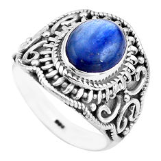 4.70cts natural blue kyanite 925 sterling silver solitaire ring size 6.5 p81199
