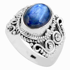 4.21cts natural blue kyanite 925 sterling silver solitaire ring size 6.5 p81200