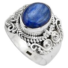 4.02cts natural blue kyanite 925 sterling silver solitaire ring size 6.5 p88861