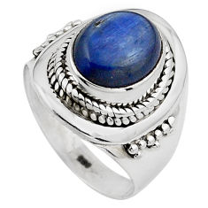 4.40cts natural blue kyanite 925 sterling silver solitaire ring size 7 p88862
