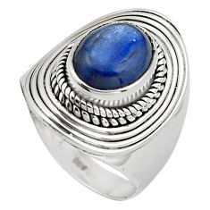 4.21cts natural blue kyanite 925 sterling silver solitaire ring size 6.5 p88863