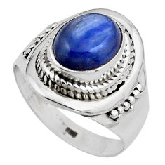 4.40cts natural blue kyanite 925 sterling silver solitaire ring size 8 p88866