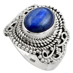 4.71cts natural blue kyanite 925 sterling silver solitaire ring size 6.5 p88870