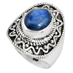 4.55cts natural blue kyanite 925 sterling silver solitaire ring size 6.5 p90561