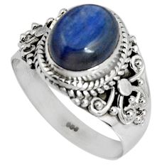 4.46cts natural blue kyanite 925 sterling silver solitaire ring size 8 p90562