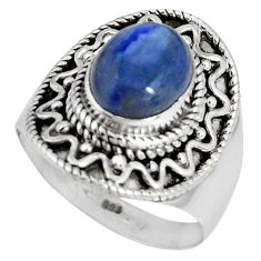 4.55cts natural blue kyanite 925 sterling silver solitaire ring size 7.5 p90563