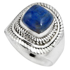3.52cts natural blue kyanite 925 sterling silver solitaire ring size 6.5 p90565
