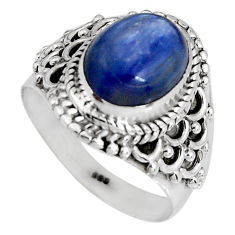 4.51cts natural blue kyanite 925 sterling silver solitaire ring size 6.5 p90572