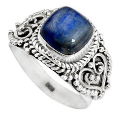 3.47cts natural blue kyanite 925 sterling silver solitaire ring size 6.5 p90576