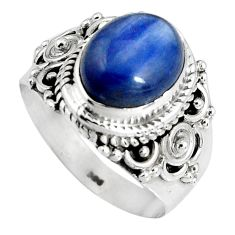 4.46cts natural blue kyanite 925 sterling silver solitaire ring size 6.5 p90577