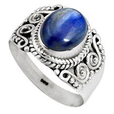 4.40cts natural blue kyanite 925 sterling silver solitaire ring size 8.5 p90579