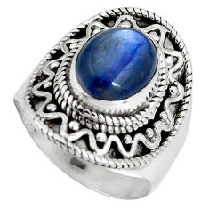 4.20cts natural blue kyanite 925 sterling silver solitaire ring size 7 p90580