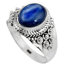 4.22cts natural blue kyanite 925 sterling silver solitaire ring size 8.5 p92048