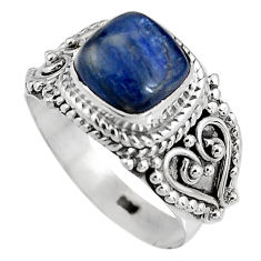 3.47cts natural blue kyanite 925 sterling silver solitaire ring size 7 p92049