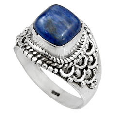 3.52cts natural blue kyanite 925 sterling silver solitaire ring size 6.5 p92051