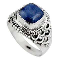 3.46cts natural blue kyanite 925 sterling silver solitaire ring size 6.5 p92052
