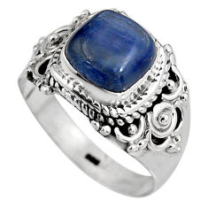 3.35cts natural blue kyanite 925 sterling silver solitaire ring size 7 p92053