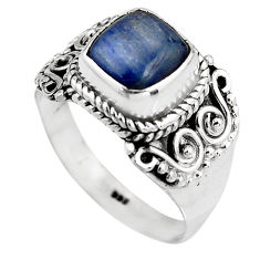 3.47cts natural blue kyanite 925 sterling silver solitaire ring size 8 p92054