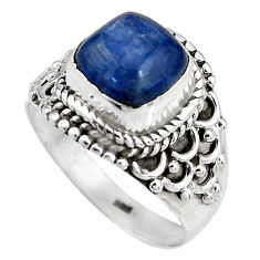 3.58cts natural blue kyanite 925 sterling silver solitaire ring size 6.5 p92059