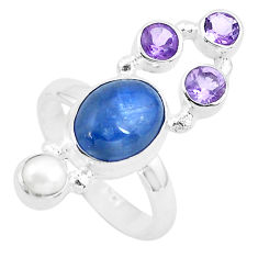 7.84cts natural blue kyanite amethyst 925 sterling silver ring size 7 p52461