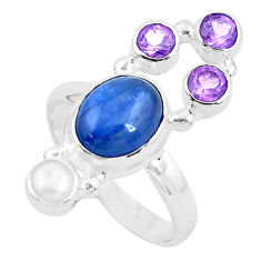 8.14cts natural blue kyanite amethyst 925 sterling silver ring size 7.5 p52462