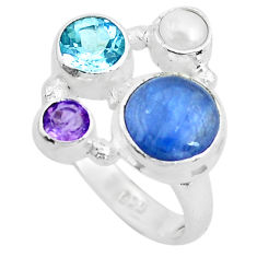 7.66cts natural blue kyanite amethyst 925 sterling silver ring size 7 p52465