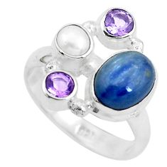 6.48cts natural blue kyanite amethyst 925 sterling silver ring size 8 p52466