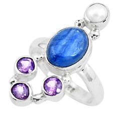 7.51cts natural blue kyanite amethyst 925 sterling silver ring size 7 p52469