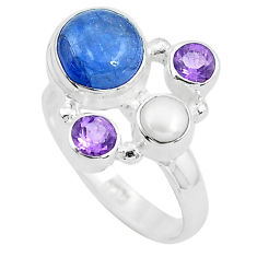 6.03cts natural blue kyanite amethyst 925 sterling silver ring size 7.5 p52471