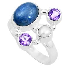 7.04cts natural blue kyanite amethyst 925 sterling silver ring size 8.5 p52473