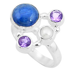 7.12cts natural blue kyanite amethyst 925 sterling silver ring size 7 p52477