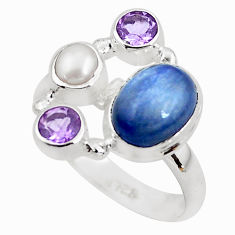 6.26cts natural blue kyanite amethyst 925 sterling silver ring size 8 p52641