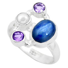 6.26cts natural blue kyanite amethyst 925 sterling silver ring size 8.5 p52678