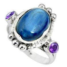 7.73cts natural blue kyanite amethyst 925 sterling silver ring size 7 p69914