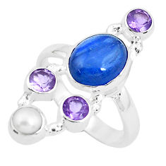8.70cts natural blue kyanite amethyst pearl 925 silver ring size 7.5 p52472