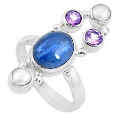 8.14cts natural blue kyanite amethyst pearl 925 silver ring size 8 p52474