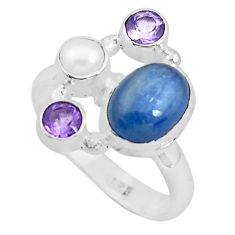 7.83cts natural blue kyanite amethyst pearl 925 silver ring size 8.5 p52475