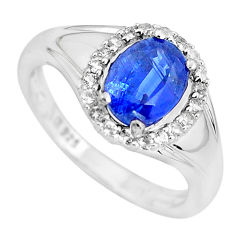 4.30cts natural blue kyanite oval 925 sterling silver ring size 6.5 c3913